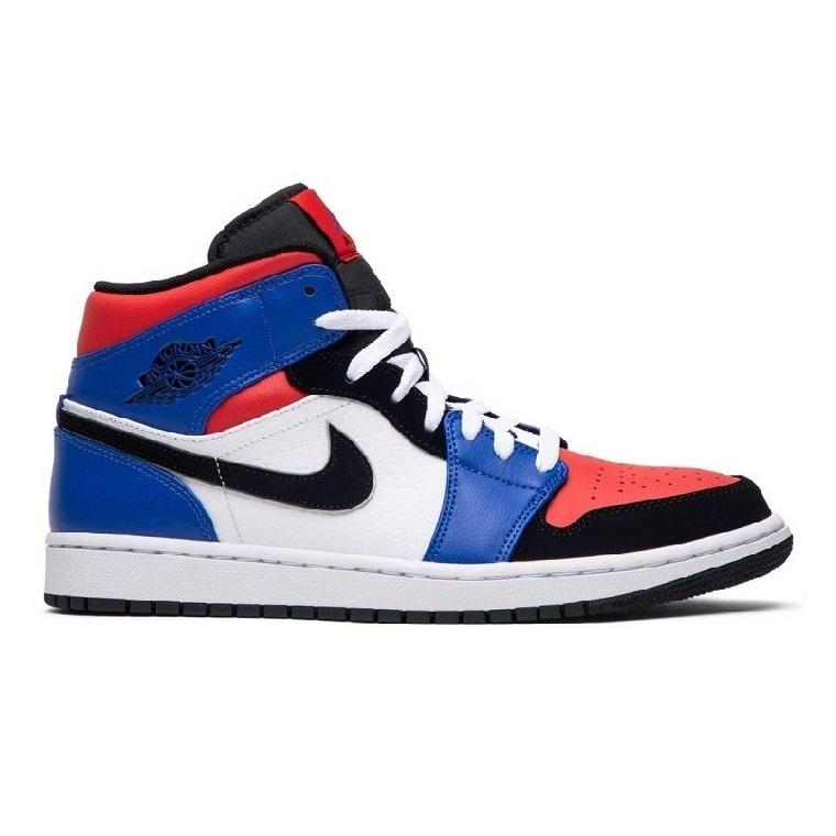 N.IKE AIR JORDAN 1 MID TOP 3 BLUE RED BLACK WHITE REP 1:1